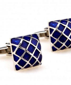 Prepracované manžetové gombíky s mriežkou v modrej farbe