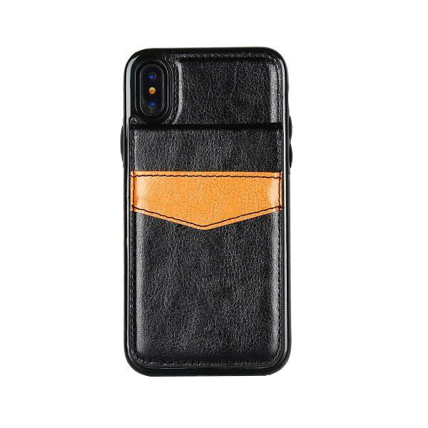 Retro kožený obal a púzdro na karty pre iPhone X v čiernej farbe