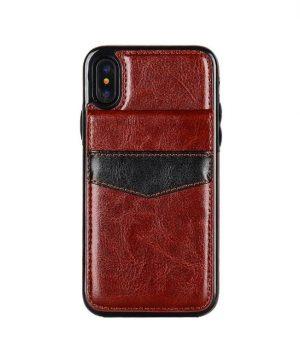 Retro kožený obal a púzdro na karty pre iPhone X v hnedej farbe