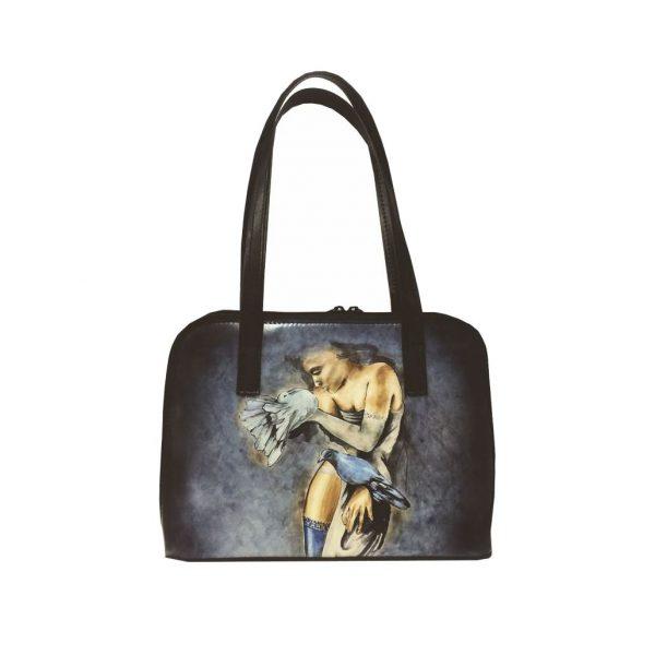 Ručne-maľovaná-kabelka-8574-s-motívom-Dievča-s-holubmi