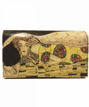 Ručne maľovaná kožená peňaženka 8542 inšpirovaná motívom Gustav Klimt