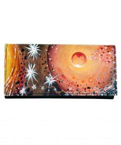 Ručne maľovaná peňaženka 7757 s abstraktným motívom, maľba na kožu (1)
