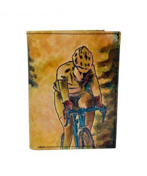 Ručne maľovaná peňaženka 8560 s motívom Cyklistu