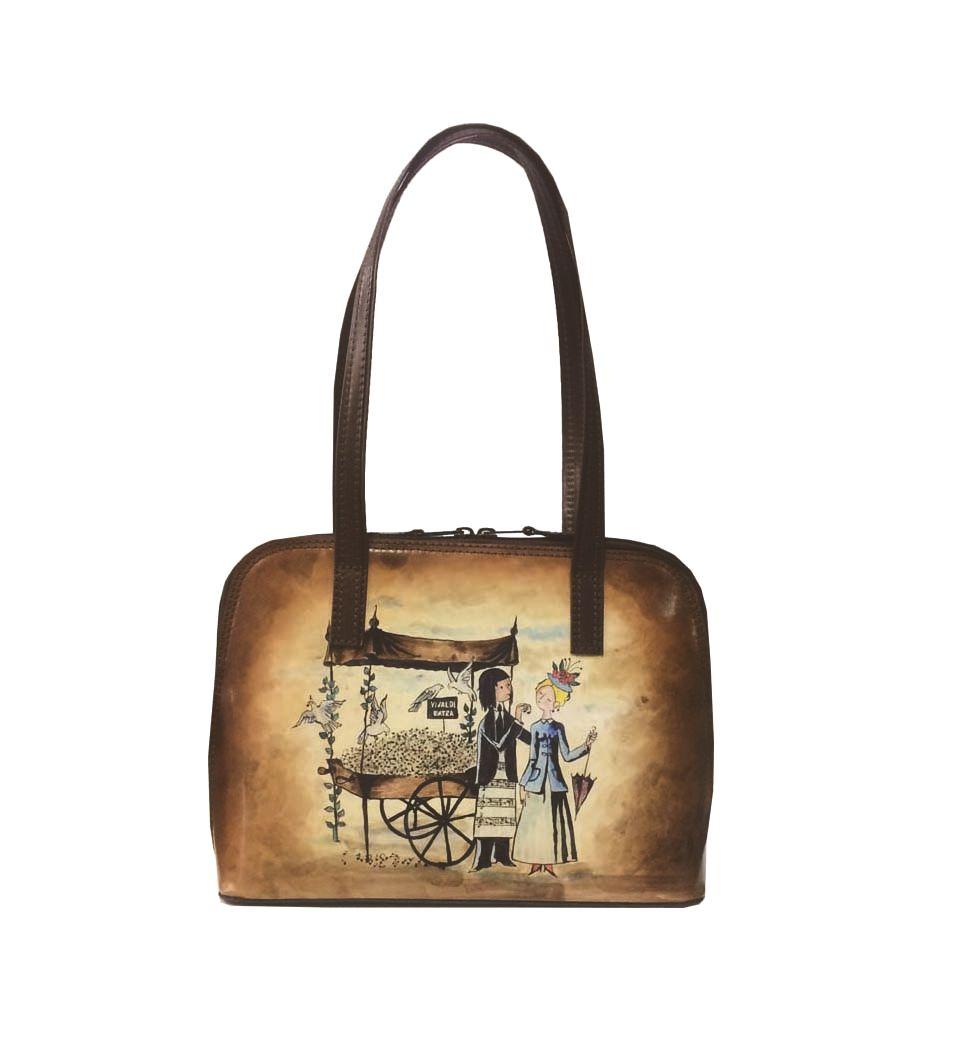 a926cd64e626 Ručne maľovaná kabelka 8574 s motívom Milenci na lavičke – hnedá ...