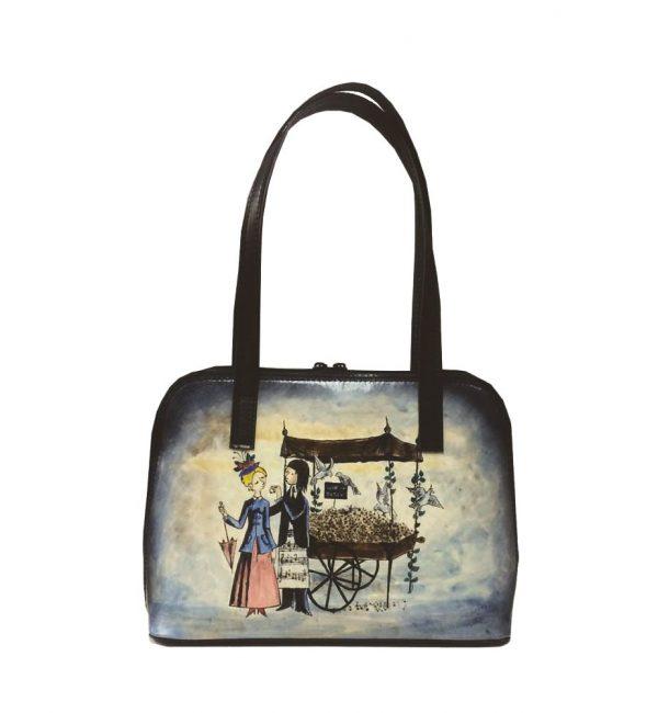 Ručne-maľovaná-kabelka-8574-s-motívom-Milenci-na-lavičke-modrá