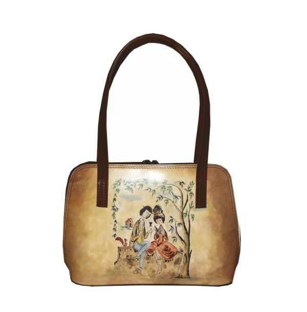 Ručne-maľovaná-kabelka-8574-s-motívom-Milenci-na-lavičke-svetlá