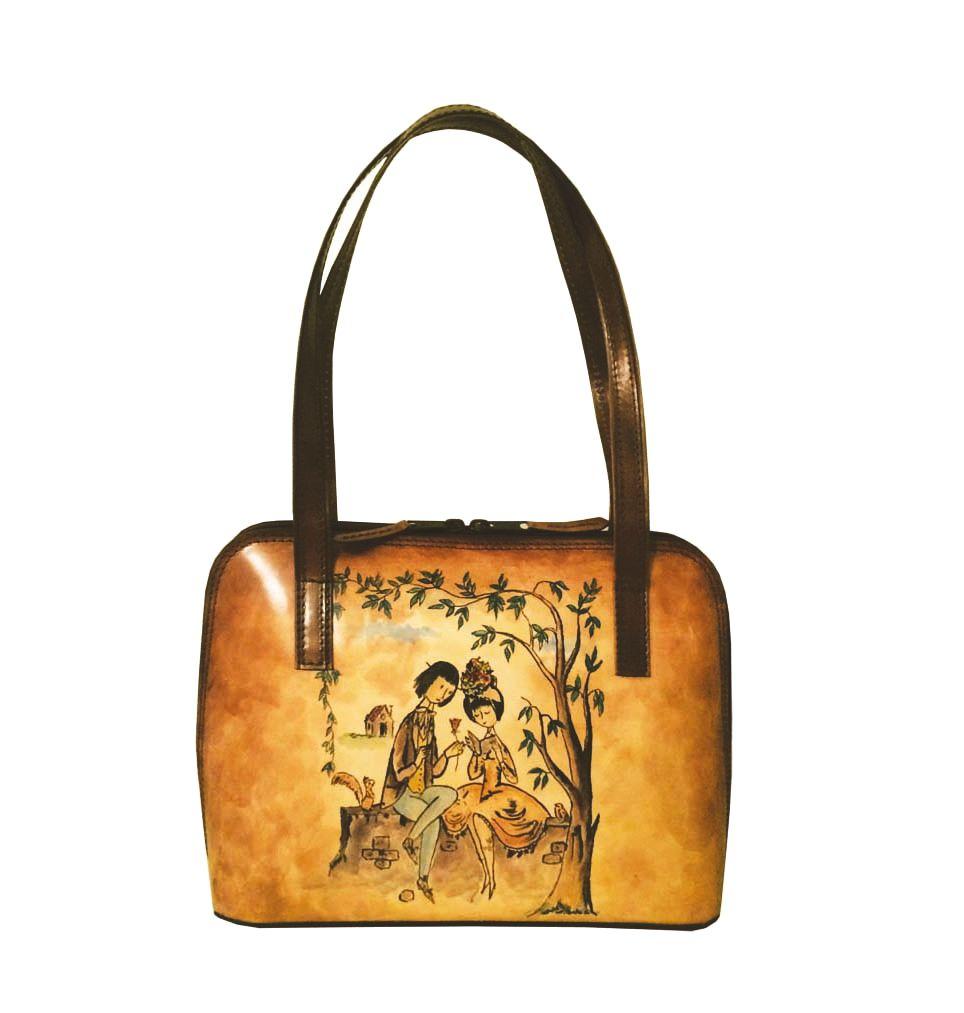 8b5c46e39441 Ručne maľovaná kabelka 8574 s motívom Milenci na lavičke · Luxusné a ...