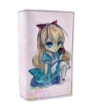 Ručne maľovaná kožená peňaženka s motívom Dievčatko s jablkom (6) - kópia