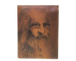 87d3bb4c4e560 Ručne maľovaná peňaženka 8560 inšpirovaná motívom Leonardo da Vinci, hnedá