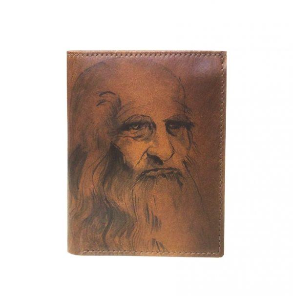 Ručne-maľovaná-peňaženka-8560-inšpirovaná-motívom-Leonardo-da-Vinci-hnedá