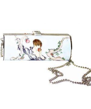 Ručne-maľovaná-spoločenská-kabelka-7111-s-motívom-Dievča-s-jablkom