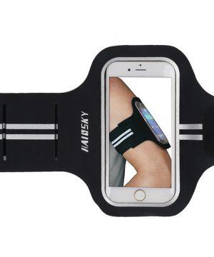 Športové púzdro Haissky na behanie pre iPhone 6, 7, 8 v čiernej farbe. Kvalitné športové puzdro na rameno, ktoré oceníte najmä pri behaní, bicyklovaní, či korčuľovaní, jednoducho pre aktívne trávenie voľného času.