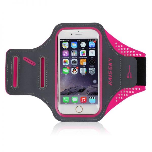 Športové púzdro Haissky na behanie pre iPhone 6, 7, 8 v ružovo-sivej farbe