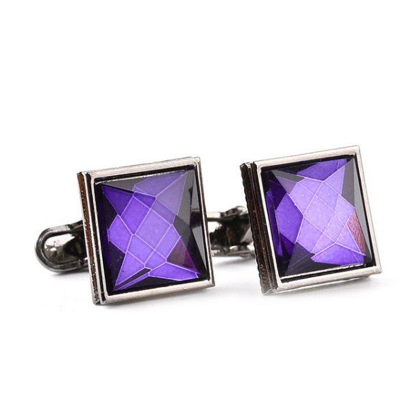 Štvorcové manžetové gombíky s fialovým kryštálom