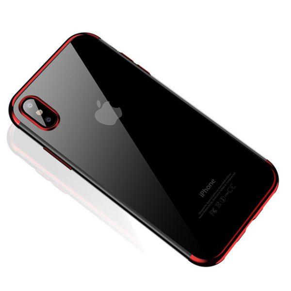 Silikónový kryt pre iPhone X s červeným okrajom