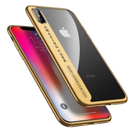 Silikónový transparentný kryt pre iPhone X so zlatými okrajmi