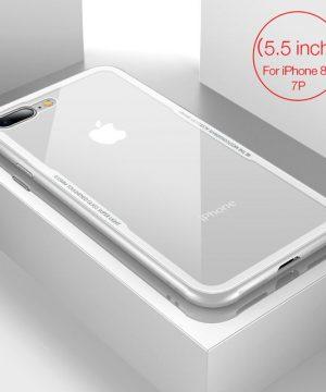 Sklenený štýlový obal pre iPhone 7Plus a 8Plus v bielej farbe