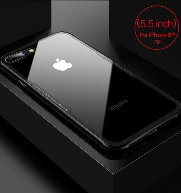 Sklenený štýlový obal pre iPhone 7Plus a 8Plus v čiernej farbe