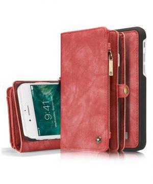 Peňaženka a magnetický obal na iPhone 6/6S Plus z kože v červenej farbe