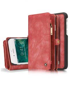 Peňaženka a magnetický obal na iPhone 7 a iPhone 8 z kože v červenej farbe