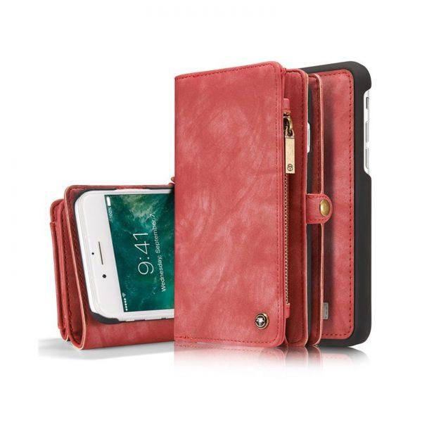 Peňaženka a magnetický obal na iPhone 6/6S z kože v červenej farbe