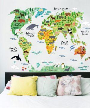 World Animal kvalitná nálepka na stenu z PVC, 60 x 90 cm