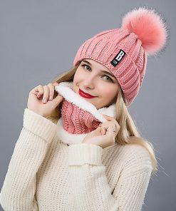 Dámska vlnená čiapka s brmbolcom + šál, v rôznych farbách