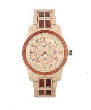 Drevené jedinečné hodinky Bewel v svetlo-hnedom prevedení