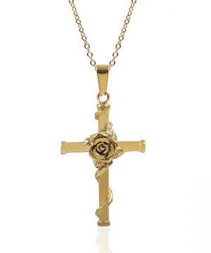 Elegantný prívesok v tvare kríža s ružou v zlatom prevedení