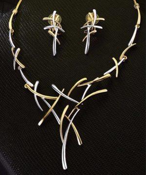 Elegantný šperkový set - naušnice + náhrdelník v strieborno-zlatom prevedení