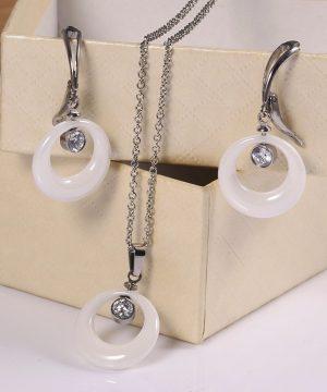 Elegantný šperkový set v tvare kruhu s kryštálom v rôznych farebných prevedeniach