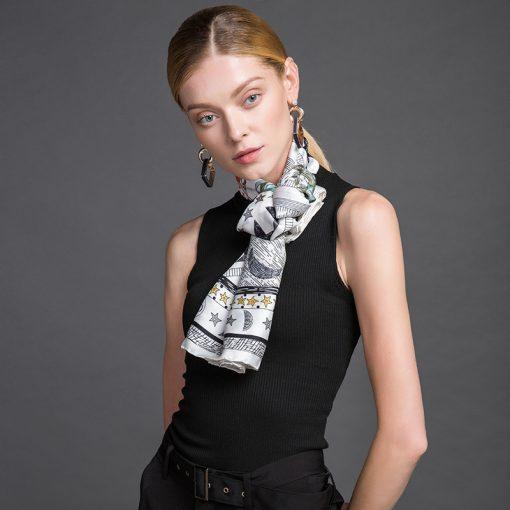 Hodvábna luxusná ženská šatka - 106 x 106 cm
