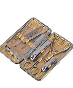 Luxusná 12-dielna manikúrová sada v zlatom púzdre