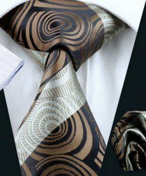 Luxusná kravatová sada Bary - kravata + manžety + vreckovka , č.12