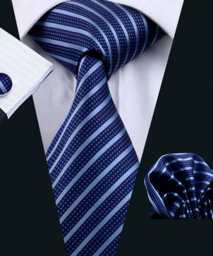 Luxusná kravatová sada Bary - kravata + manžety + vreckovka , č.14