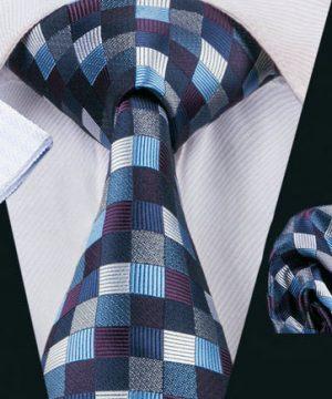 Luxusná kravatová sada Bary - kravata + manžety + vreckovka , č.16