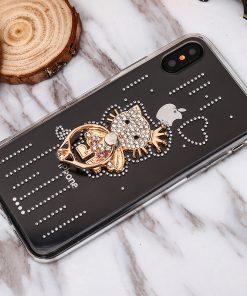 Luxusný Silikónový kryt s mačičkou a kryštálikmi pre iPhone 7 a iPhone 8