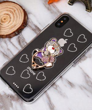 Luxusný Silikónový kryt s macíkom a prsteňom na iPhone 7 a iPhone 8