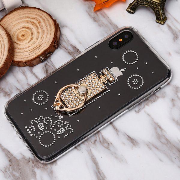 Luxusný Silikónový kryt s parfúmom a prsteňom pre iPhone 7 a iPhone 8