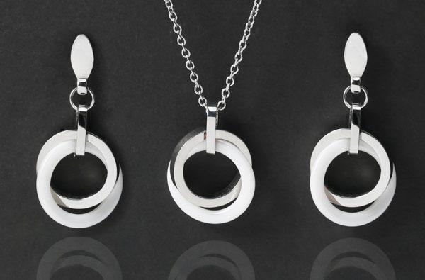 Luxusný šperkový set v strieborno-bielej farbe s dvojkruhmi