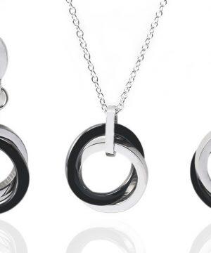 Luxusný šperkový set v strieborno-čiernej farbe s dvojkruhmi
