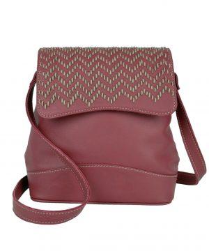 Ručne vyšívaná kožená kabelka v bordovej farbe (2)