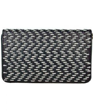 Dámska kožená peňaženka ručne vyšívaná, šedé vyšívanie (1)