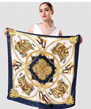 Elegantná dámska šatka v zlato-modrom prevedení so vzorom