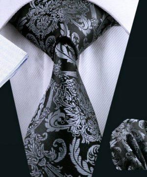 Elegantná kravatová sada - kravata + manžety + vreckovka, vzor 7.