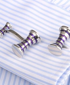 Elegantné manžetové gombíky v strieborno-fialovej farbe