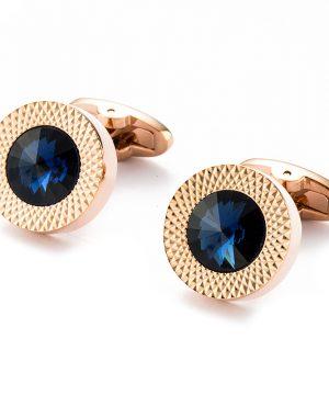 Elegantné manžetové gombíky v tvare kruhu s modrým kryštálom