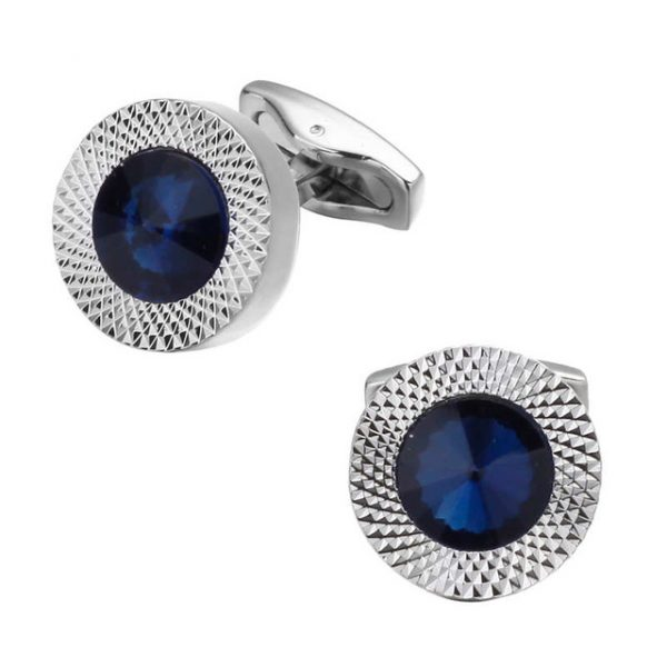 Elegantné manžetové gombíky v tvare kruhu s veľkým modrým kryštálom