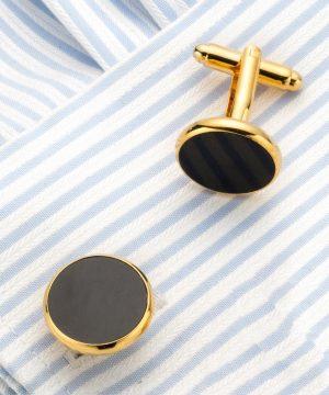 Elegantné manžetové gombíky v zlato-čiernej farbe