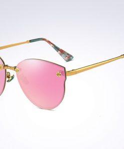 Elegantné moderné dámske slnečné okuliare v ružovo-zlatej farbe